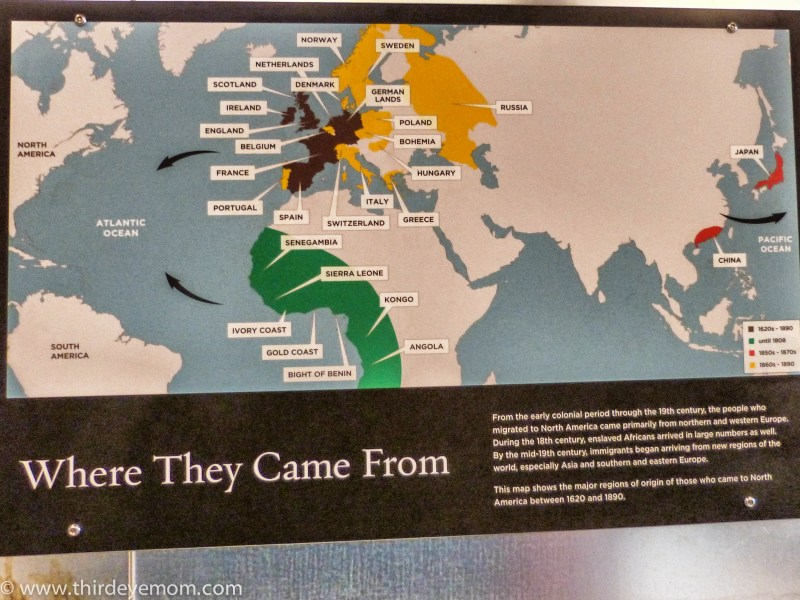 Immigration Timetable Key: Brown: 1620s-1890. Green: Until 1808; Red: 1850s-1870s; Yellow: 1860s-1890