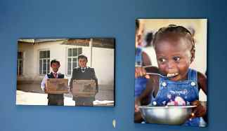 Pictures of the children FMSC help are all over the wall.