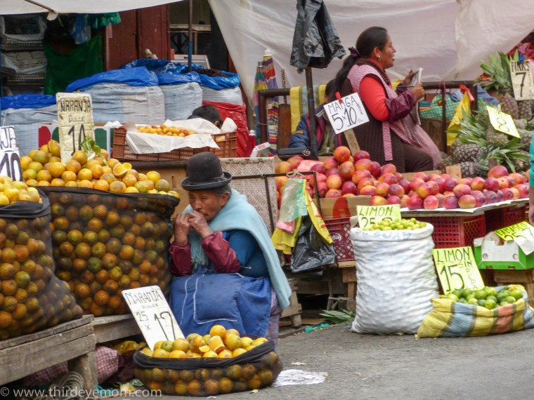 Produce vendors in La Paz Bolivia