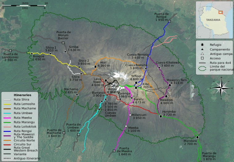 Image of Mount Kilimanjaro Climbing Routes (Wikipedia)
