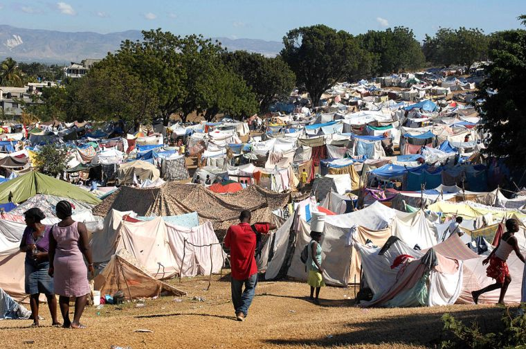 As many as 50,000 Haitians slept in this earthquake survivor camp in the Del Mas area in Port-au-Prince, Haiti, Jan. 21, 2010.Photo credit: Fred W. Baker III via Wikimedia Commons
