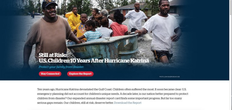 """Screen Shot of Save the Children's Landing Page for """" Get Ready Get Safe"""""""