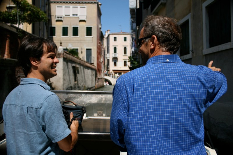 Paul and Italo on a drive through Venice's canals.