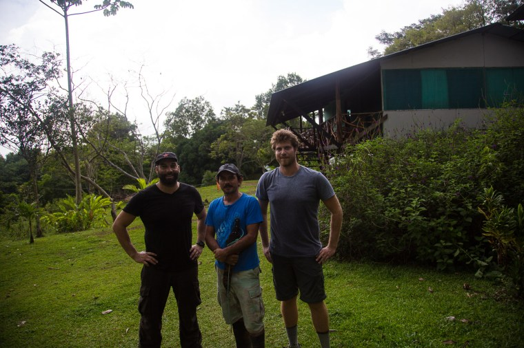 48A8498: Lokal Co-Founders Eytan Elterman and Marco Bollinger with Finca La Tarde owner Eduardo Castro in Costa Rica's Osa Peninsula. Finca La Tarde offers hundreds of acres of hiking, Costa Rica's largest fig tree, and a gorgeous river to swim in.