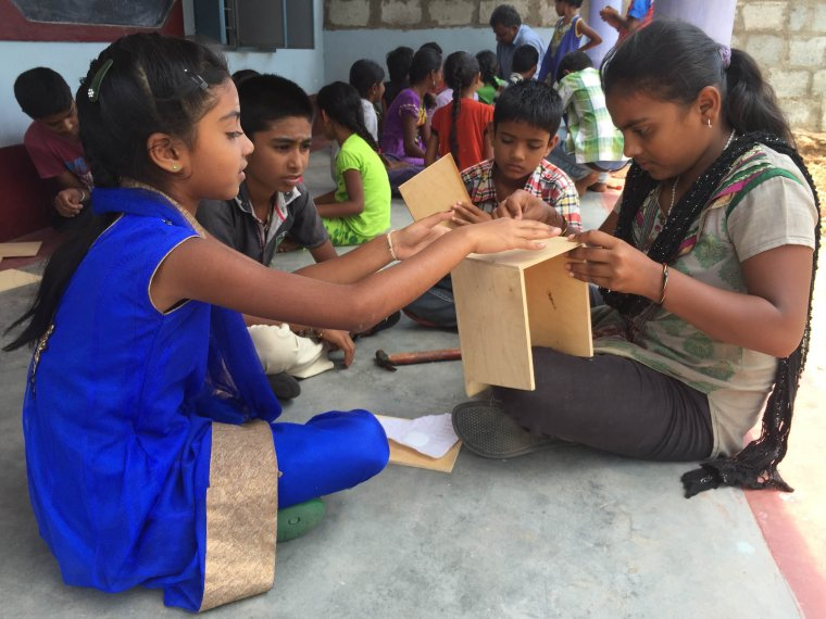 At a Vanam workshop - learning how to make a simple nest box for birds. (Nithila Baskaran)