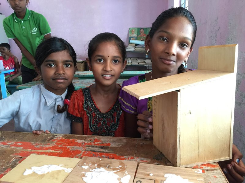 At a Vanam workshop - Proudly displaying an almost couple nest box (Nithila Baskaran)
