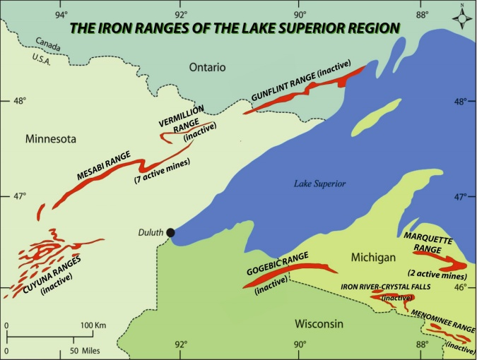 The Iron Range in includes these four major iron deposits: Mesabi Range, the largest iron range, largely within Itasca and Saint Louis counties; Vermilion Range, northeast of the Mesabi, in Saint Louis and Lake counties; Gunflint Range is in the extreme northern portion of Cook County and extends into Canada; and Cuyuna Range, southwest of the Mesabi, largely within Crow Wing County. Source: Wikipedia Free Media Commons