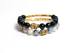 Buddah Awali Stretch Bracelet - Grey or Black