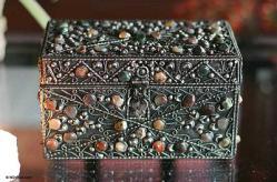 Repousse Brass Jewelry Box, 'Majestic View'