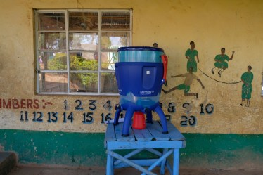 This is the LifeStraw Community (LSC) that is provided to the schools. Each LSC filters out harmful waterborne parasites and bacteria which lead to disease.