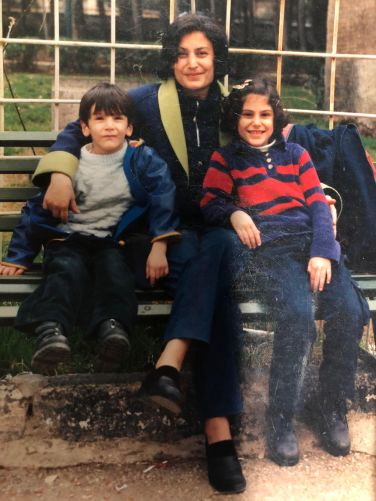 Abeer with her mom and brother