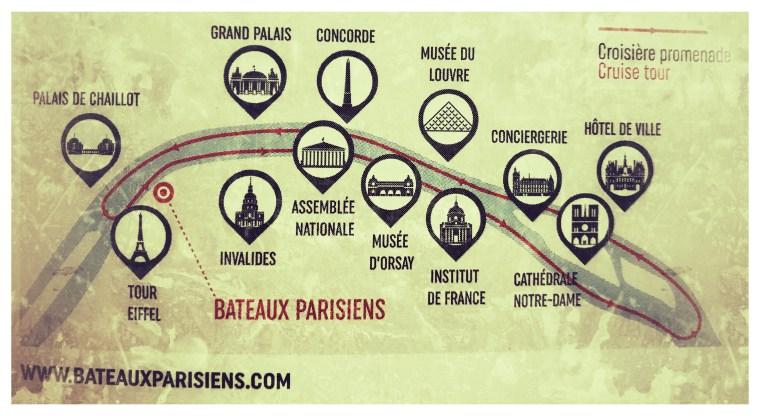 Bateaux Parisiens Map of Route