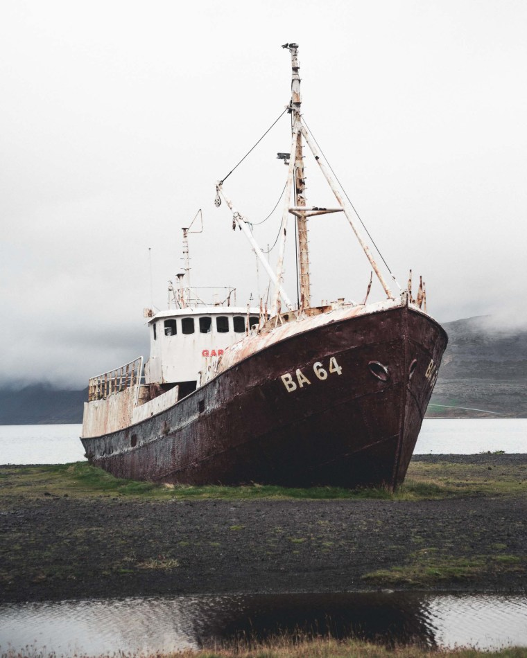 Abandoned West Fjords Ship. Photo credit: Hidden Iceland