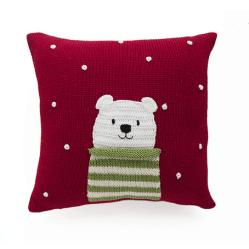 Hand Knit Polar Bear Holiday Christmas Pillow, Fair Trade. $66.00