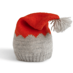 Hand Knit Baby or Toddler Hat with Pom (orange & grey), Fair Trade. $36.00