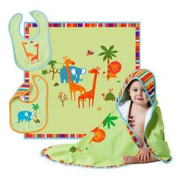 Bright Colorful Animals Add a Touch of Adventure, 'Safari Bib & Blanket Set'