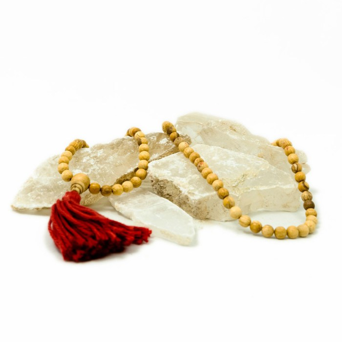 palo santo mala with red tassel from third eye wood