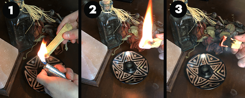 how to light palo santo for smudging ceremony