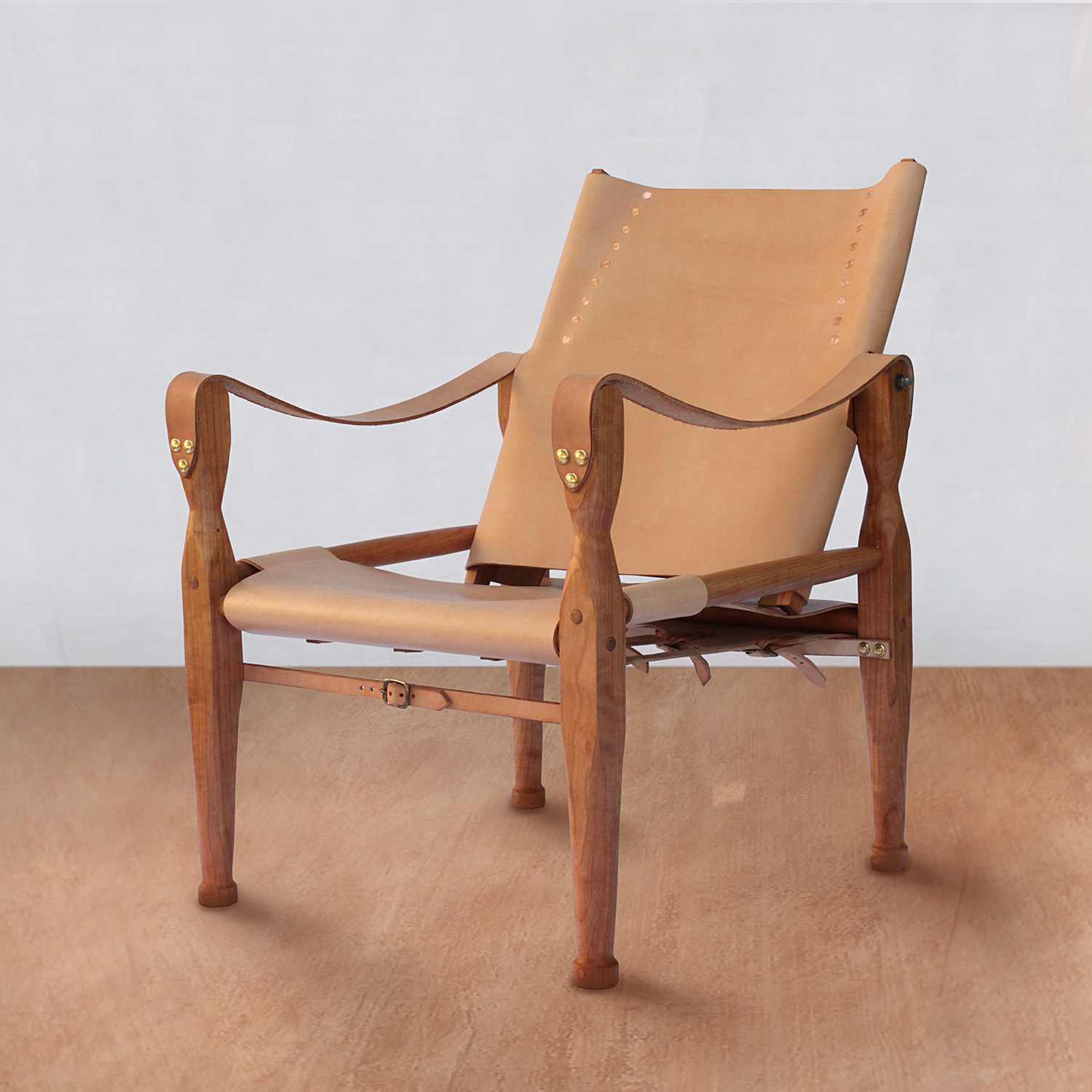 Cherry And Veg Tan Leather Campaign Chair
