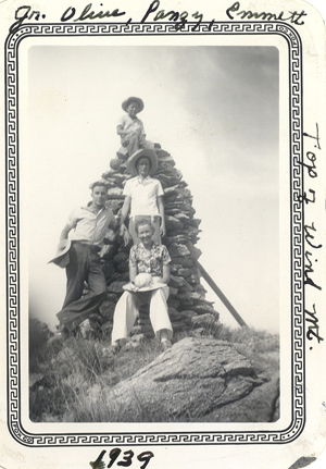 Jr, Pansy, Olive, Emmett Jones at top of Wind Mountain 1939