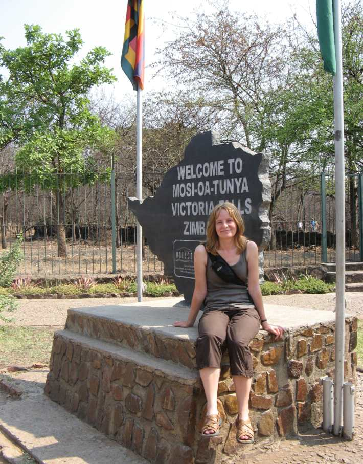 Entrance sign at Victoria Falls, Zimbabwe