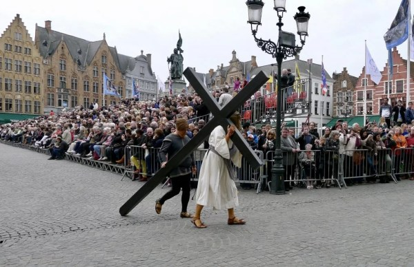 Jesus carrying his cross, Heilig Bloedprocessie, Bruges, Belgium