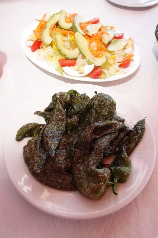 grilled pepper salad and avocado salad