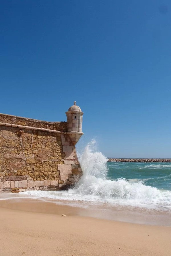 Lagos fortress with ocean waves