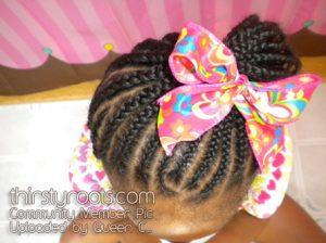 Kids Braids Pink Bow Black Hairstyles