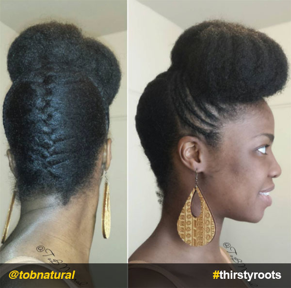 High-bun-pompadour-with-underbraid-updo-natural-hairstyle