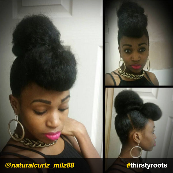 Rolled-bun-and-bang-updo-natural-hairstyle