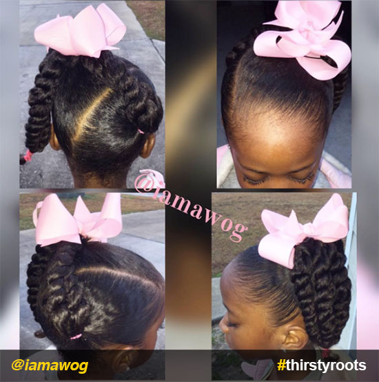 side-ponytail-with-twists-and-bow-natural-hairstyle-for-little-girls