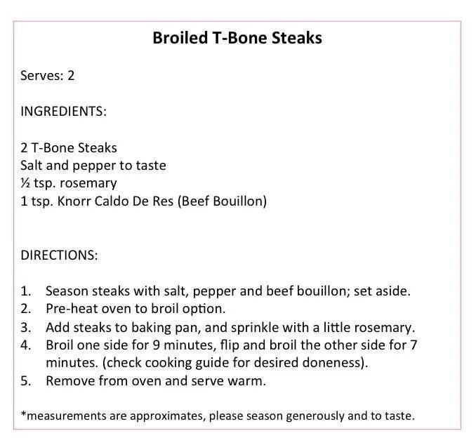 Recipe for Broiled Steak
