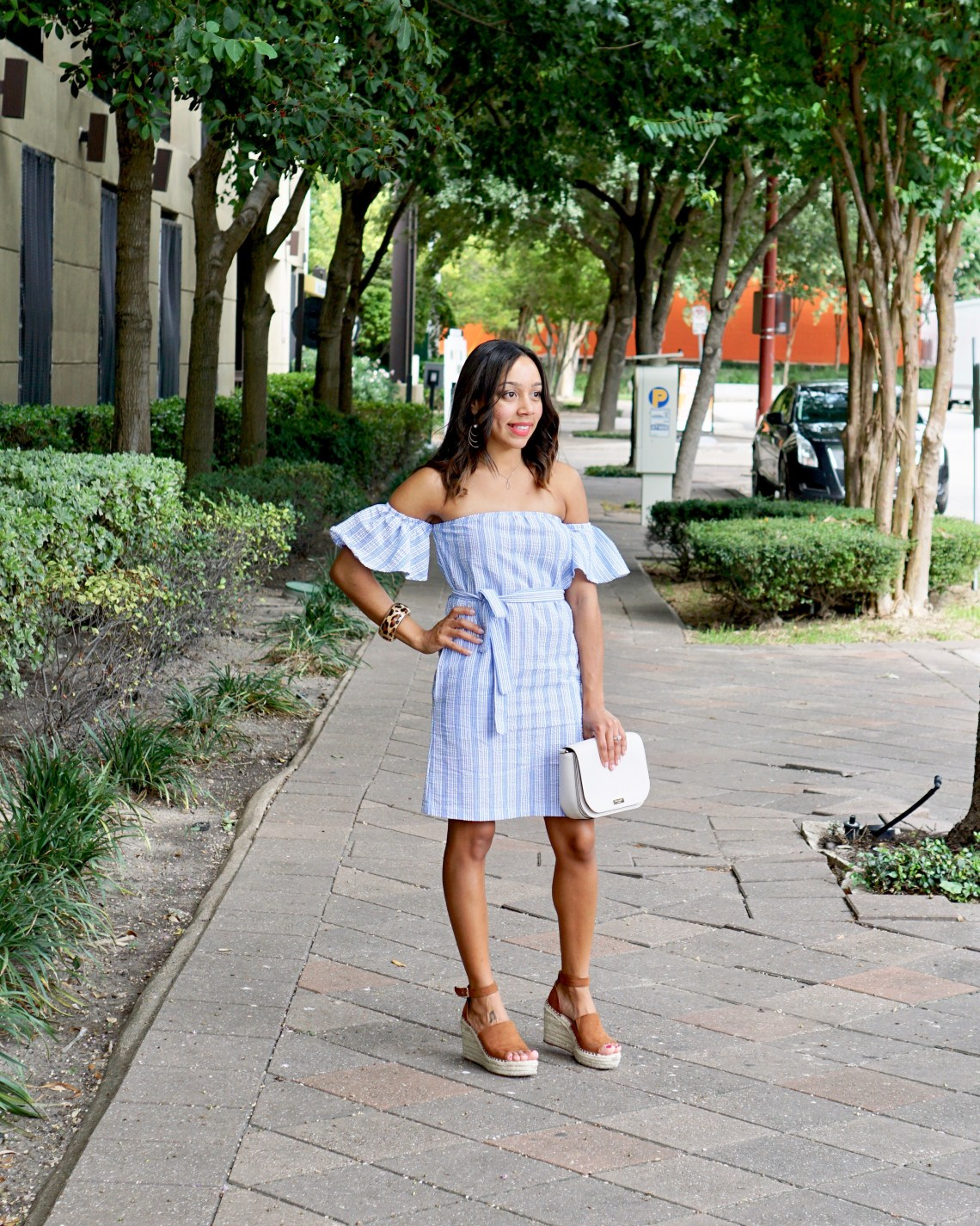 Pinstripe Off The Shoulder Dress