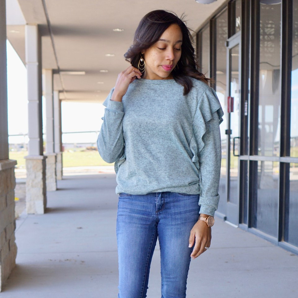 Greeting Sweater Weather in Ruffles with Poppy + Dot