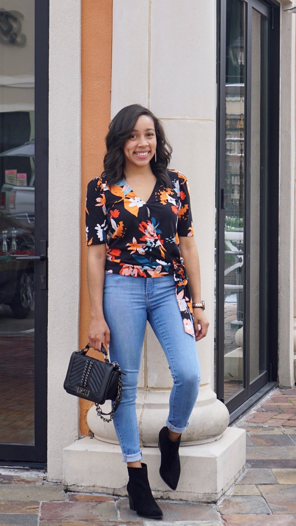 bold floral print top to transition from winter to spring