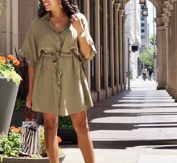 Trendy Thursday LinkUP + Belted Shirt Dress for a Day in City