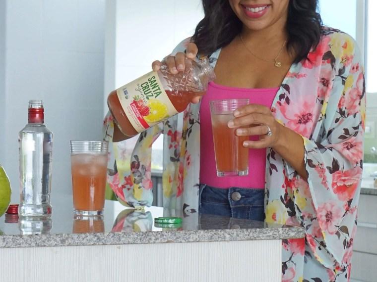 A Refreshing  Strawberry Vodka Lemonade Cocktail with Santa Cruz Organic