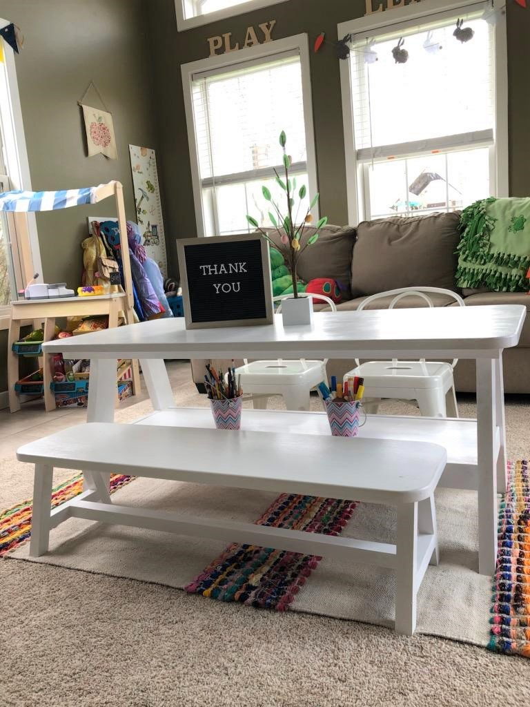 A-Frame Playroom Table and Bench, White