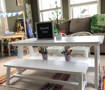 A Frame Playroom Table and Bench, White 3
