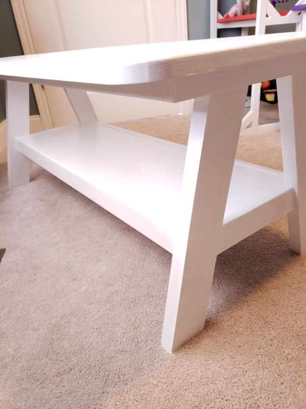 A-Frame Playroom Table, White - Shelf Detail View