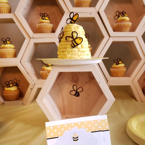 Pyrography Bee First Birthday Cupcake Display