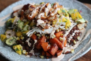 Quinoa and Caramelized Sweet Potato Fish Tacos with Mango/Avocado Salsa