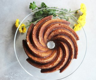 Caramelized Bananas and  Bourbon Glazed Cake