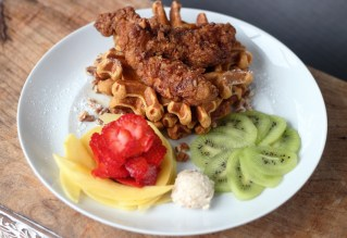 Pecan Crusted Buttermilk Chicken and Sweet Potato Pie Waffles