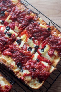 Homemade Detroit Style pizza