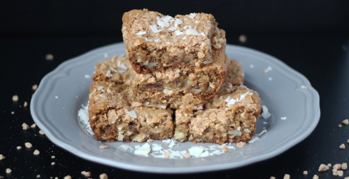 Bounty bar blondie with crunchy toffee topping