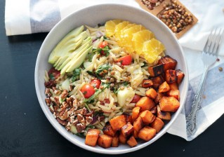 Warm Orzo salad with maple glazed sweet potatoes in a citrus vinaigrette