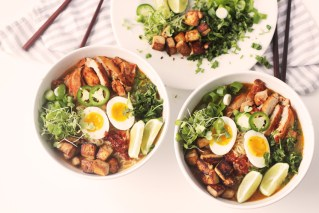 Coconut Ginger Miso Ramen With Chicken and Ponzu  Marinated Tofu