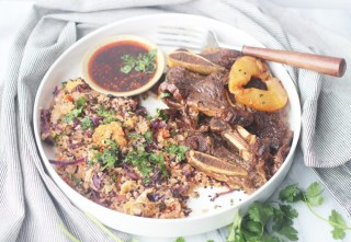 Whole30/Paleo instant pot pineapple short ribs and cauliflower fried rice